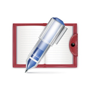 open notebook icon with pencil isolated
